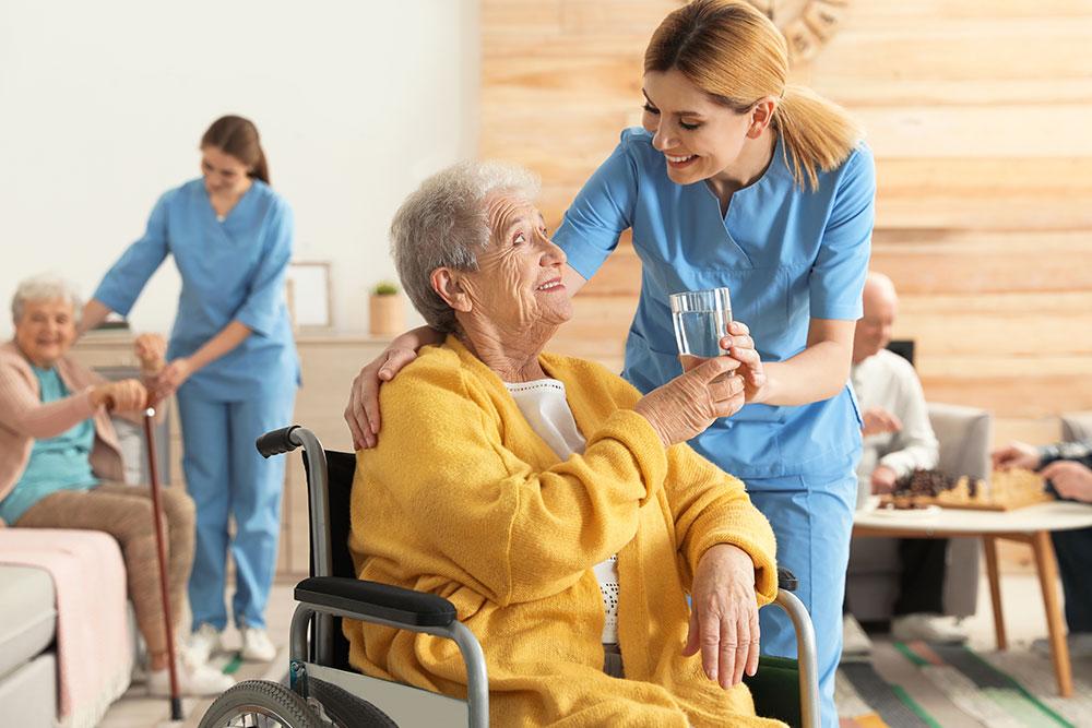 Nurses taking care of the elder